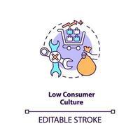 ícone de conceito de cultura de baixo consumo vetor