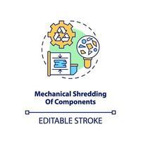 ícone do conceito de destruição de componentes mecânicos vetor
