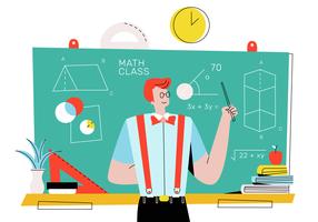 Nerd masculino ensinando matemática na frente da ilustração em vetor de classe plana