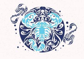 Escorpião Tattoo Design Vector
