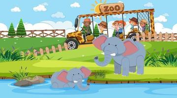 safári durante o dia com muitas crianças observando um grupo de elefantes vetor