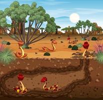 Toca de animais subterrânea com família de cobras vetor