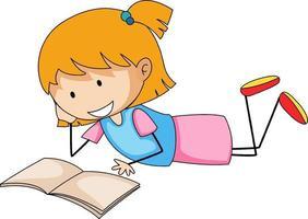 menina bonita lendo livro doodle personagem de desenho animado vetor