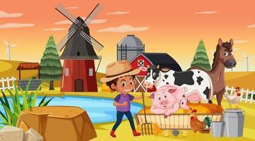 um menino fazendeiro na cena da fazenda com animais de fazenda vetor