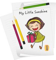 esboçar personagens de desenhos animados de crianças pequenas no papel isolado vetor