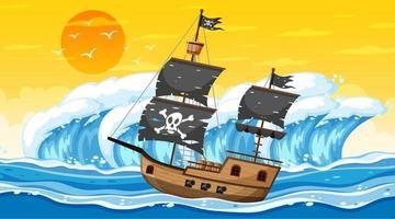 oceano com navio pirata na cena do pôr do sol no estilo cartoon vetor