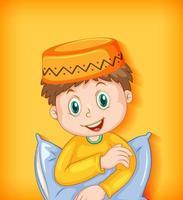 personagem de desenho animado muçulmano masculino com travesseiro vetor