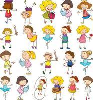 conjunto de crianças diferentes em estilo doodle vetor