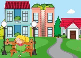cena na frente da casa com uma garota lendo um livro sentada no banco vetor