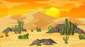 paisagem de floresta desértica com cena do pôr do sol com oásis vetor