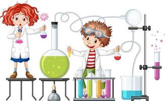 estudante com itens experimentais de química vetor