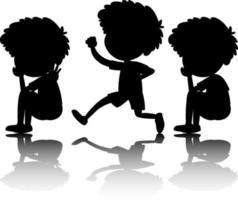 conjunto de silhueta de crianças com reflexo em fundo branco vetor
