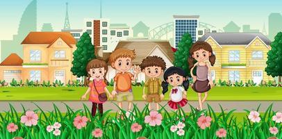 muitas crianças em pé com o fundo da cidade vetor