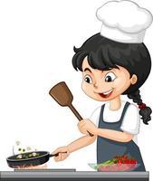 linda garota usando chapéu de chef cozinhando vetor