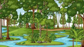 fluxo do rio através da cena da floresta durante o dia vetor