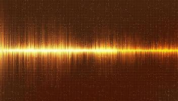 fundo de onda sonora digital ouro, música e conceito de diagrama de alta tecnologia, design para estúdio de música e ciência, ilustração vetorial. vetor