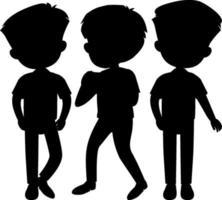 conjunto de personagens de desenhos animados da silhueta de crianças vetor