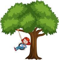 criança brincando de balanço de pneu debaixo da árvore no fundo branco vetor