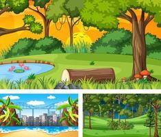 conjunto de diferentes cenas de paisagens naturais vetor