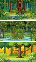 três cenas horizontais de natureza diferente vetor
