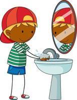 uma criança rabiscada lavando as mãos personagem de desenho animado isolada vetor