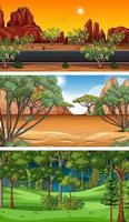 diferentes tipos de cenas horizontais de floresta vetor
