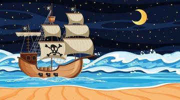 cena de praia à noite com navio pirata em estilo cartoon vetor