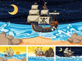 conjunto de diferentes cenas de praia com navio pirata vetor