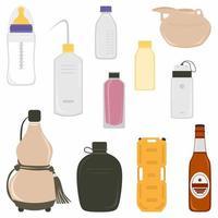 garrafa de água em vetor de estilo diferente coleção definida isolada no fundo branco. garrafa de leite para bebê, garrafa de cerveja, garrafa de cabaça, garrafa térmica, garrafa de perfume, bidão, garrafa de reagente, etc.