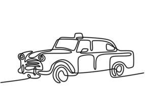 carro retrô em estilo de desenho de arte de linha contínua. carro sedan clássico isolado no fundo branco. automóvel vintage minimalista esboço linear preto estilo minimalista. ilustração vetorial vetor