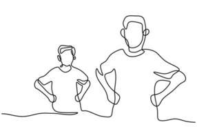 pai e filho continuam um desenho de linha. um jovem papai e seu filho estão juntos na mesma pose, isolada no fundo branco. pai de família feliz e criança pequena. tema do dia dos pais vetor