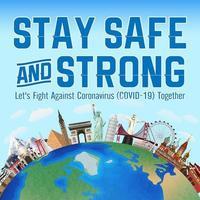 fique seguro e forte, vamos lutar contra o coronavírus covid19 vetor