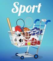 carrinho de compras com equipamentos esportivos vetor