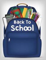 bolsa de estudante com material escolar dentro do vetor