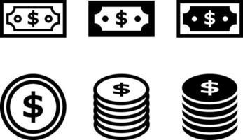 papel-moeda e conjunto de moedas vetor