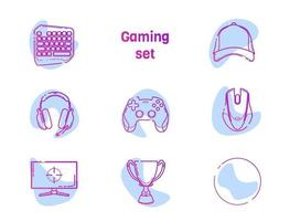 jogos de vídeo - conjunto de ícones de linha. gamer coleção de design de contorno moderno com ponto de cor de destaque. joystick, teclado, boné de equipe, copo, gamepad, fones de ouvido, mouse, monitor, ícone vazio. vetor branco isolado