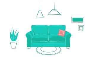 confortável sala de estar interior em design plano linear, estilo moderno. modelo de site de imóveis de conceito. sofá escandinavo verde com almofada vermelha em foco. ilustração vetorial linha fundo isolado vetor