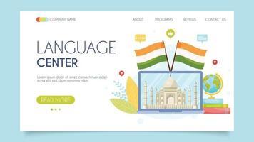 conceito de centro de idiomas na índia vetor