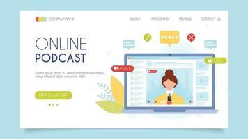 podcast video blog online vetor