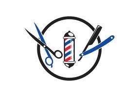 barbearia símbolo tesoura, navalha, ilustração de design de poste de barbeiro vetor