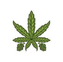 ilustração de desenho de folha de maconha cannabis vetor