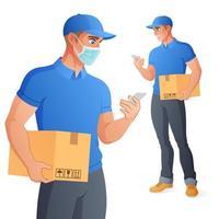 entregador na máscara segurando a caixa e verificando o smartphone. tamanho completo sob máscara de corte. ilustração vetorial isolada no fundo branco. vetor