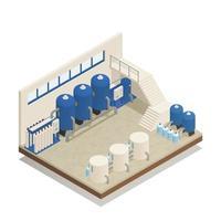 ilustração em vetor composição isométrica de instalação de limpeza de água