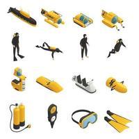 ícones isométricos de equipamentos subaquáticos definir ilustração vetorial vetor