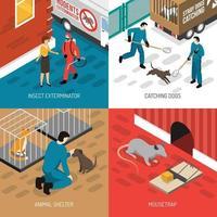 ilustração em vetor conceito design isométrico controle animal