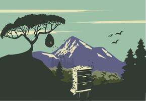 langstroth colmeia design de paisagem de montanha azul vetor