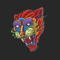 Ilustração colorida de cabeça de tigre selvagem e fera vetor