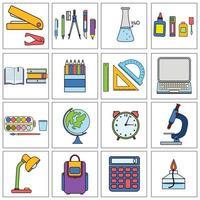 conjunto de papelaria escolar e de escritório em estilo simples vetor