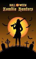 caçador de zumbis de halloween com espingarda no cemitério vetor