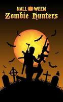 caçador de zumbis de halloween com metralhadora no cemitério vetor